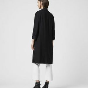 TWIK black contemporary structured duster jacket